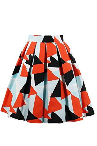 Dcollet Vintage Femmes Colorblock Jupes Nimpansa Occasionnels Midi Orange qtz1wnpf