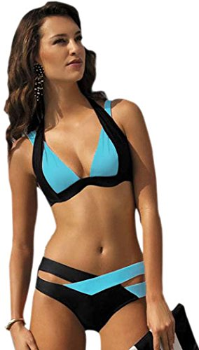 Elady Sexy Bikini Color Block Swimsuit Push up Top Bottom Sets Beachwear, Blue, 3X-Large