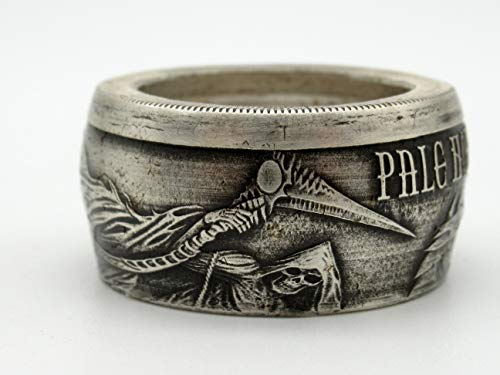 Grim Reaper Pale horse of death coin ring made from Pure silver coin (Can be Engraved)