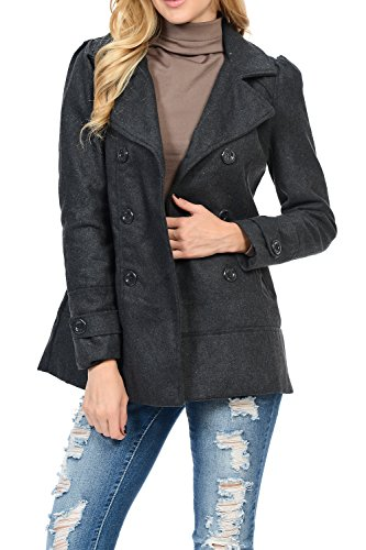 Womens Double Breasted Wool Blend Hooded Pea Coat Charcoal L