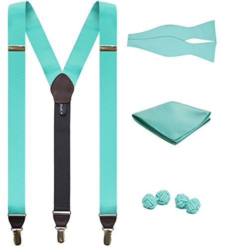 hing Suspenders Handkerchief Cufflinks and Self-Tie Bow Tie Set - Aqua ()