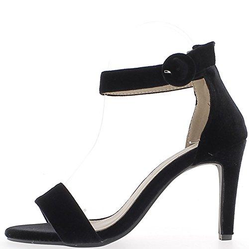 Sandales noires effet velours à talon fin de 9 cm