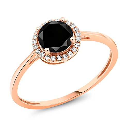 10K Rose Gold Diamond Engagement Ring Round Black Diamond (1.27 cttw, Available in size 5, 6, 7, 8, 9)