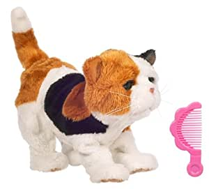 Fur Real Friends Recien nacidos (H) Gato - Mascota de peluche bebé con sonido y movimiento, color marrón y blanco (Hasbro)