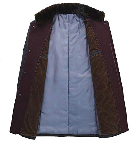 Regalo L Tamaño Buen Gray Invierno color Muy Cuello Para Brown Lana Hombre Abrigo Pfsyr Moda Alto Cálido De Chaqueta OwqSBBH