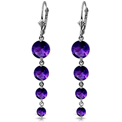 ALARRI 7.8 CTW 14K Solid White Gold Love Survives Amethyst Earrings by ALARRI