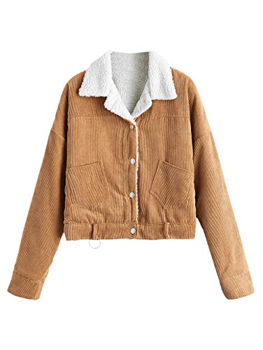 Corduroy Women Jacket - ZAFUL Women's Faux Shearling Corduroy Jacket Fleece Lined Button Down Sherpa Short Jacket(Brown-M)