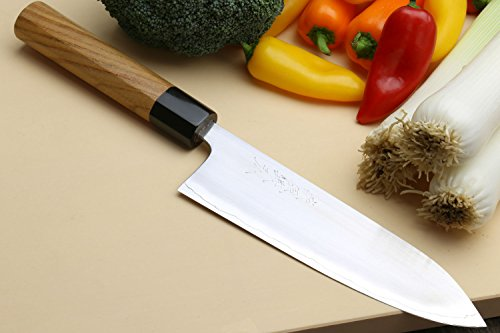 Yoshihiro High Performance SLD Masashi Series Gyuto Chef Knife Keyaki Handle with Nuri Saya Cover (7'' (180mm))