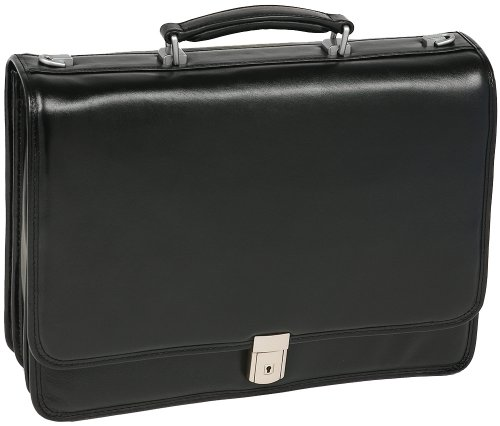 Triple Compartment Briefcase, Leather, Mid-Size, Black - RIVER NORTH | (Grain Triple Shock)