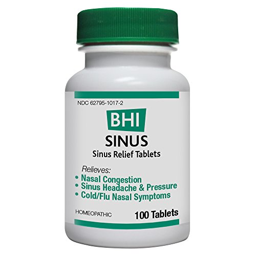 BHI Sinus Relief Tablets - Homeopathic Formula for Minor Sinus and Nasal Congestion Relief - 100 Count