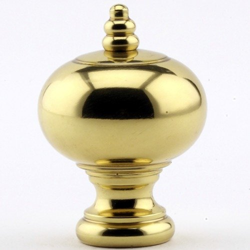 Beaded Crown Ball Lamp Finial - Satin Polished Brass - 2 Inch High