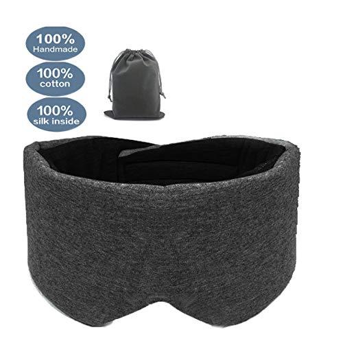 Cotton Sleep Mask, Eye Mask for Sleeping Adjustable Blinder Blindfold Airplane with Travel Pouch,Sleep mask for Women (Black) ()