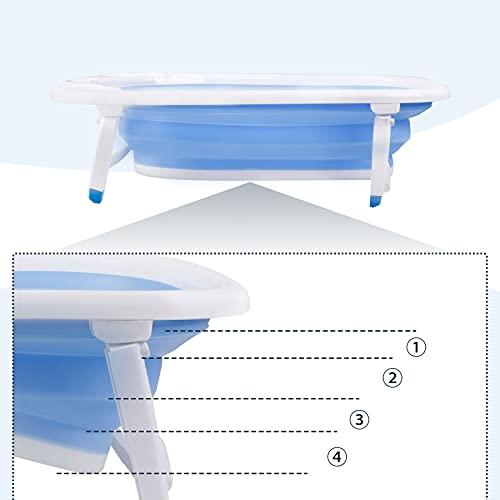 Vasca da bagno pieghevole per neonati e rete da bagno compatta per bambini da 0 a 36 mesi (blu)