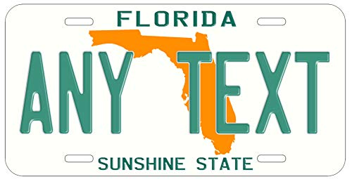 (Top Craft Case Custom Personalized Vintage Florida State License Plate Any Text or Name Novelty Auto Car Tag)