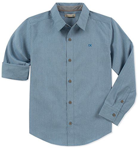 Calvin Klein Boys' Big Long Sleeve Solid Button Down Shirt, Faded Denim, Medium ()