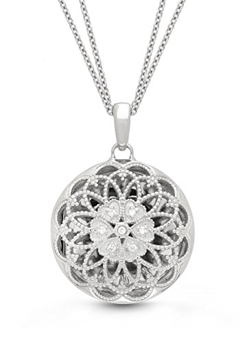 Sterling Silver-Diamond-Filigree-Custom Photo Locket Necklace-18inch chain-The Elaine by With You (Personalized Photo Locket)