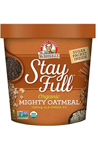 Dr. McDougall's Right Foods Stay Full Organic Mighty Omega Superfood Hot Cereal, 2.6 Ounce Cups (Pack of 6) Vegan, USDA Organic, Whole Grain, Non-GMO; Cups From Certified Sustainably-Managed ()