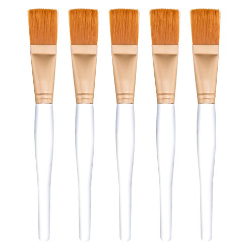 Facial Mask Brush Makeup Brushes Cosmetic Tools with Clear Plastic Handle, 5 Pack (Silver with Yellow Brush) (Best Homemade Hair Mask For Colored Hair)