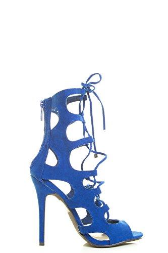 Breckelles Damesschoen Met Vetersluiting Gladiator Kooi Uitgesneden Naaldhak Pump Sandaal 7 Blauw