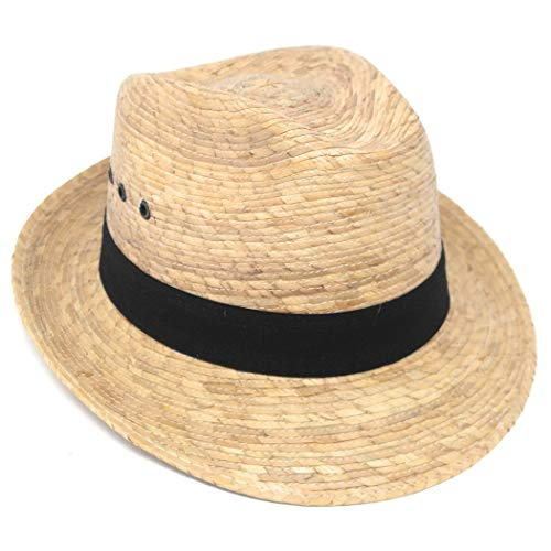MEXIMART Mexican Palm Leaf Straw Wide Brim Fedora Hat, Black Hatband w/Grommets ()