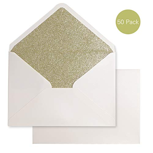 PONATIA 50 Pieces/Lot A7 Glitter Envelopes, 5.25 x 7.5 inches with Adhesive Self-Sealing Tape, Perfect for 5''x7'' Weddings, Invitation Cards,Graduation Invite (Pearl Ivory+Champagne Gold Glitter) ()
