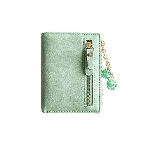 Women's Rfid Small Bifold Leather Wallet Ladies Mini Zipper Coin Purse id card Pocket,Slim Compact Thin (Green3)