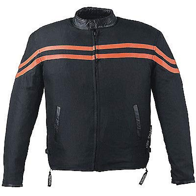 IKLeather Codura Textile Motorcycle Jacket pin stripe orange waterproof protective (4XL)