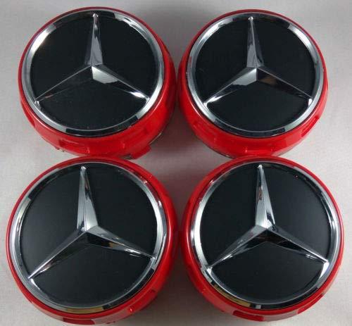 4pcs 75MM Mercedes Benz HUB AMG Wheel Centre CAPS RED//Black A B C E S ML Class