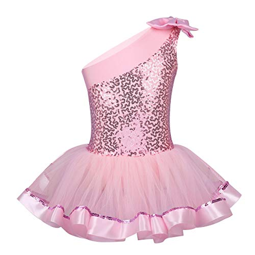 Yeahdor Girls' Kids Shiny Sequins Camisole Tutu Skirted Leotard Ballet Dance Performance Costumes Dresses Pink 5-6