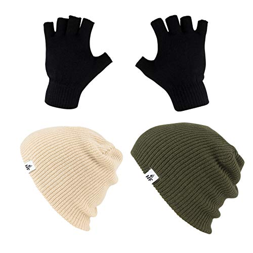 HOT FEET Unisex Winter Beanies Value 2 Pack caps w/Pair Fingerless Gloves one Size fits Most (Olive Green/Tan)