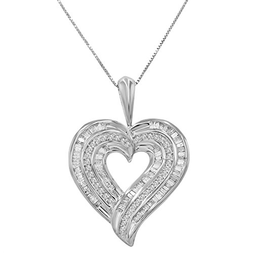 - AGS Certified 1 1/2ct TW Round and Baguette Diamond Heart Pendant-Necklace in .925 Sterling Silver