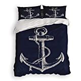 Prime Leader 4 Pcs Bedding Set-Nautical Anchor Navy Blue Duvet Cover Set Ultra Soft and Easy Care Sheet Quilt Sets with Decorative Pillow Covers for Children Kids Adults-Queen