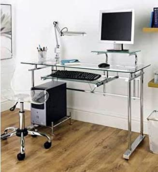 chrome office desk. clear glass and chrome pc computer home office desk chrome office desk