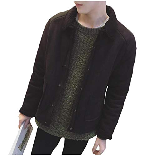Pockets Black Fleece Winter Jacket Pea Mogogo Button Coat Warm Short Men's qaIUwI