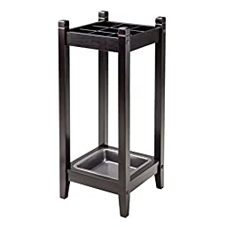Umbrella Stand Made of Solid Wood in Brown Espresso Finish with Steel Drip Tray