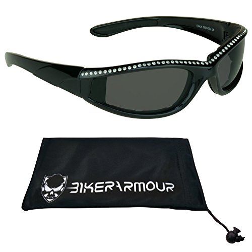 Black Frame Motorcycle Rhinestone Sunglasses Foam Padded for Women.
