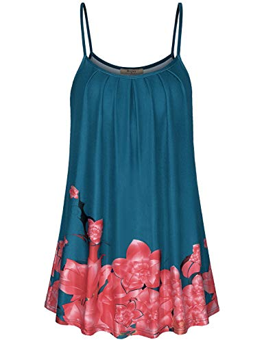 (Miusey Floral Print Top,Tanks for Women Flowing Front Pleated Shirts Scoop Neck A line Stylish Tunic Camisole Loosing Stretchy Swing Cute Design Wearing Leggings Cyan L)