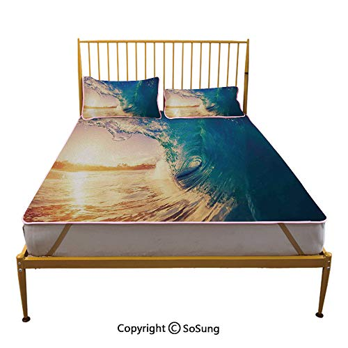 Ocean Decor Creative Full Size Summer Cool Mat,Ocean Wave at Sunrise Reflection on Surface Tropical Trees Shoreline Summertime Picture Sleeping & Play Cool Mat,Teal Gold