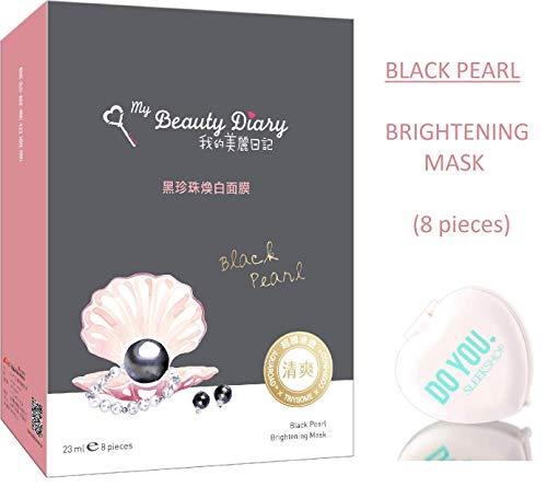 MY BEAUTY DIARY Facial Sheet Mask, BLACK PEARL Brightening Mask (with Sleek Compact Mirror) #1 Selling Face Mask in Asia, Super Ultra-Thin Masque (Black Pearl - 8 piece)
