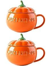 Luxshiny 2 Pcs Pumpkin Ceramic Soup Bowl Porcelain Pumpkin Shape Sugar Dessert Bowl with Lid Ceramic Dinnerware for Halloween