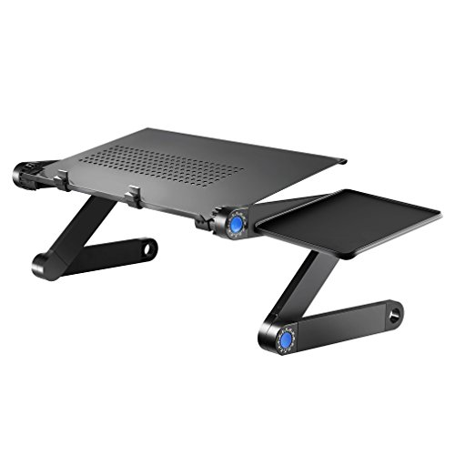 Price comparison product image Portable Adjustable Laptop Table For Bed and Sofa w/ Mouse Pad, Aluminum Laptop Desk Stand Table Vented Ergonomic Macbook Desk Table TV Bed Lap Tray Vented Folding Stand Up/Sitting