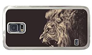 Hipster glitter Samsung Galaxy S5 Cases angry male lion PC Transparent for Samsung S5