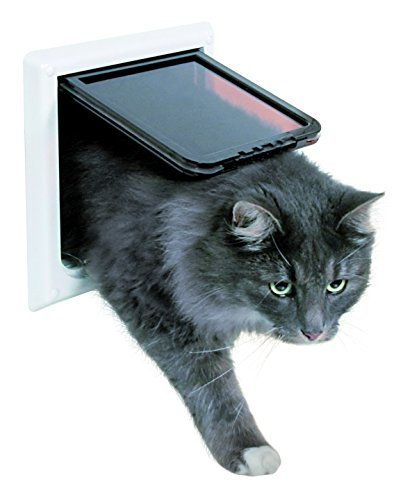 Trixie Pet Products 4-Way Locking Cat Door with Tunnel, X-Large, White -