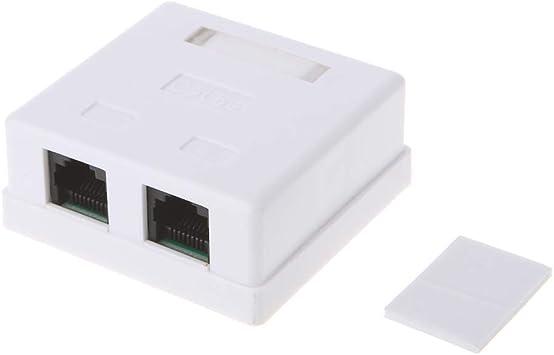 Caja de Conexiones Chg RJ45 Conector de Red CAT5e Caja de Cable de extensión de Escritorio de 2 Puertos: Amazon.es: Electrónica