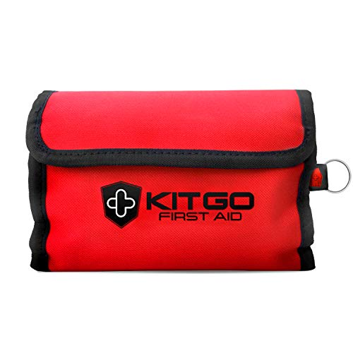 Kitgo 60 Piece Small Medical First Aid Kit, Waterproof Portable Roll Bag, Great for Home Office Car Travel Camping Survival Outdoor Sports, FDA OSHA Compliant, Red