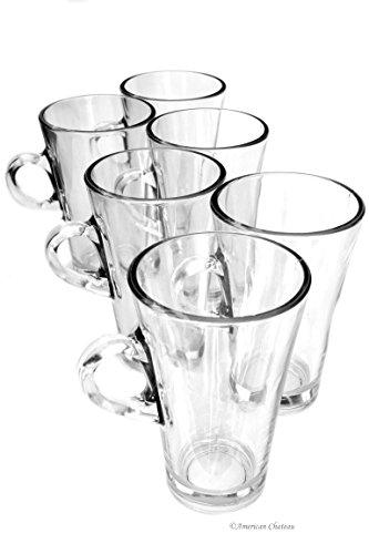 10 Oz Irish Coffee Mug - Set 6 Tall 10oz Glass Turkish Tea Irish Coffee Glasses Mugs With Handles