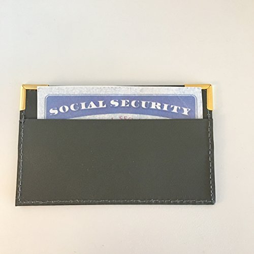 Social Security Card Holder Protector - Leather Cover Case for Business, Hunting Licenses and Certificates - Pack of 2 - Kors Michaels Stock