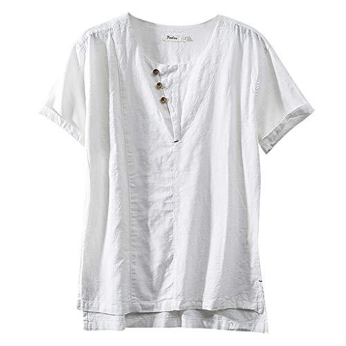 TUSANG Men Tees Fashion Cotton Linen Solid Color Short Sleeve Retro T Shirts Tops Loose Comfy Tunic(C-White,US-8/CN-L)