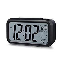 Smart Backlight Alarm Clock with Dimmer, LED Display Digital Electronic Alarm Clock Backlight Temperature Control Time Calendar + Thermometer