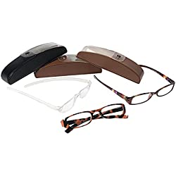 Leader 221081250 Sienna Eyeglass Plastic Readers, Includes 3 Different Reader Styles, Each with a Hard Case and Microfiber Cleaning Cloth, +1.25 (Pack of 3)